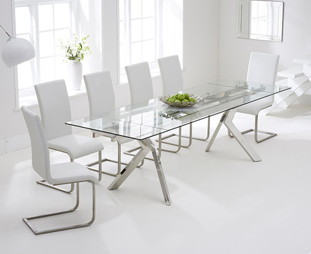 Puccini 200cm Extending Glass Dining Table with Malaga Chairs