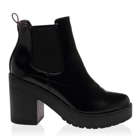 Quin Black PU Block Heel Shoes