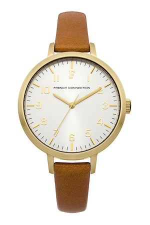 ROSEBERY Gold Plated Brushed Case Watch - Gold/Pale Blue