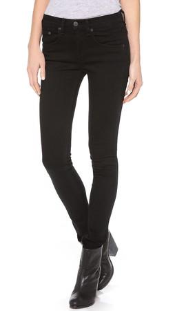 Rag & Bone/Jean High Rise Skinny Jeans - Coal