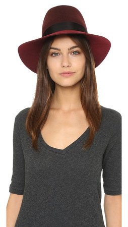 Rag & Bone Floppy Brim Fedora - Burgundy Multi