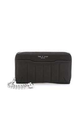 Rag & Bone Quilted Mobile Devon Zip Wallet - Black