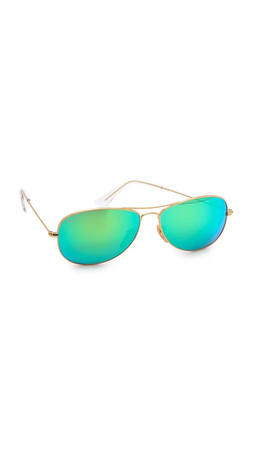 Ray-Ban Mirrored Shrunken Aviator Sunglasses - Matte Gold/Green Mirror