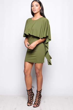 Rebecca Khaki Open Back Drape Dress