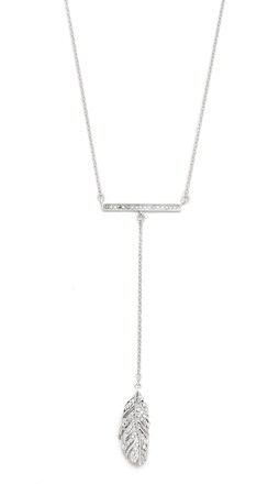 Rebecca Minkoff Bar Feather Drop Necklace - Silver/Labradorite