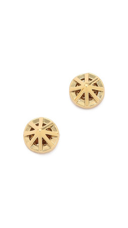 Rebecca Minkoff Cage Button Earrings - Gold/Clear
