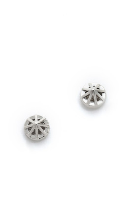 Rebecca Minkoff Cage Button Earrings - Rhodium/Clear