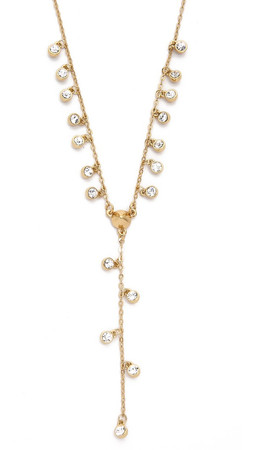 Rebecca Minkoff Crystal Dainty Stone Y Necklace - Gold/Clear