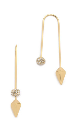 Rebecca Minkoff Cube & Ball Threader Earrings - Clear/Gold