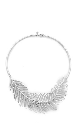 Rebecca Minkoff Feather Collar Necklace - Silver/Labradorite