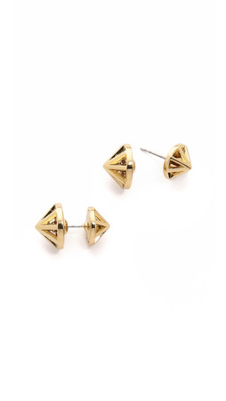 Rebecca Minkoff Front To Back Cone Earrings - Gold