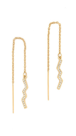 Rebecca Minkoff Geometric Threader Earrings - Gold/Crystal