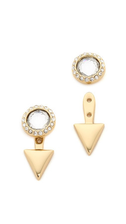 Rebecca Minkoff Inverted Crystal Earrings - Gold/Clear