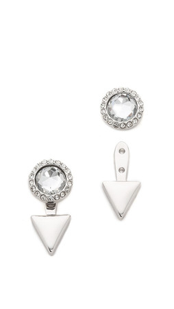 Rebecca Minkoff Inverted Crystal Earrings - Silver/Clear