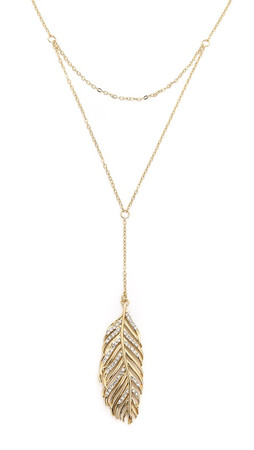 Rebecca Minkoff Layered Feather Drop Necklace - Gold/Clear