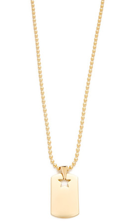 Rebecca Minkoff Military Mix Dog Tag Necklace - Gold