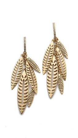 Rebecca Minkoff Safari Haze Leaf Chandelier Earrings - Gold/Crystal