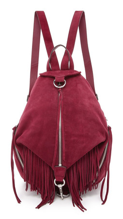 Rebecca Minkoff Suede Fringe Julian Backpack - Port