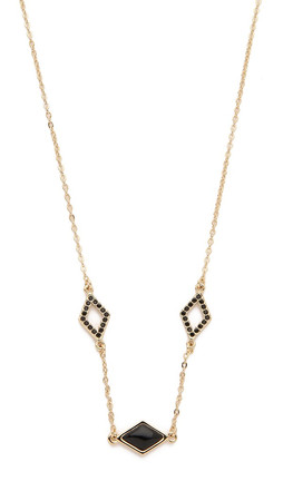 Rebecca Minkoff Three Charm Necklace - Gold/Black