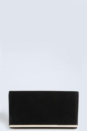 Rectangular Metal Trim Clutch black