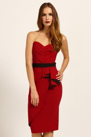 Red Pleated Half Asymmetric Peplum Wrap Bandeau Dress