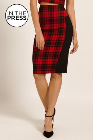 Red & Black Tartan Check Bodycon Skirt