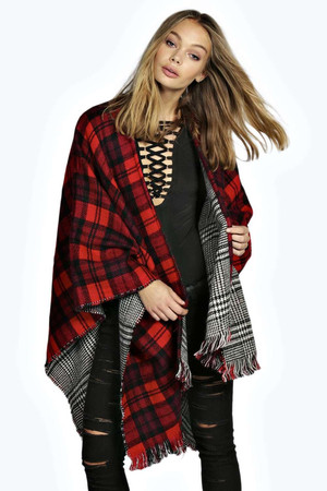 Reversible Check Cape black