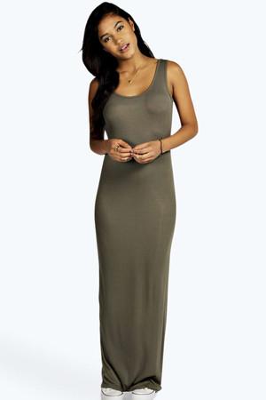 Ribbed Scoop Neck Maxi Dress khaki