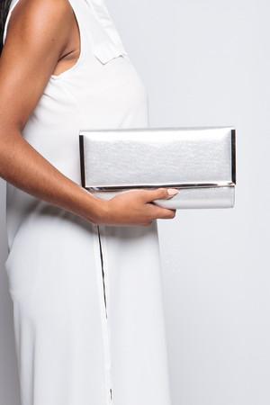 Roberta Silver Envelope Clutch Bag