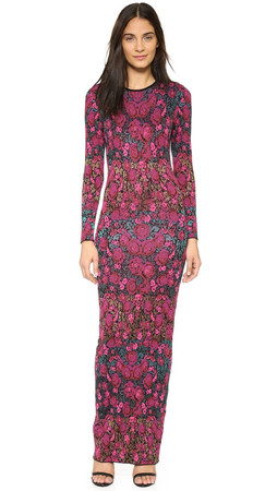 Ronny Kobo Diamond Floral Stripe Maxi Dress - Black Multi