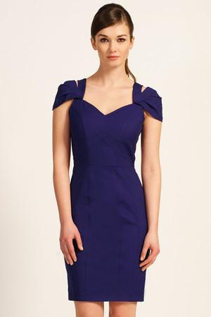 Royal Blue Sweetheart Neckline Exposed Cap Sleeve Bodycon Dress