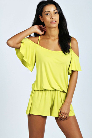 Ruffle Open Shoulder Playsuit lime