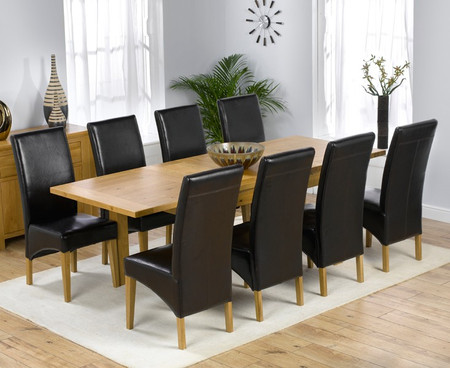 Rustique Solid Oak Extending Dining Table 150cm with Venezia Chairs