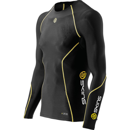 SKINS A200 Top Long Sleeve - Small Black/Yellow