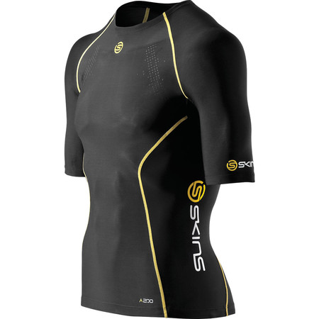 SKINS A200 Top Short Sleeve - Large Black/Yellow