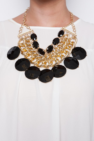 Saige Black And Gold Statement Necklace