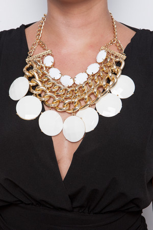Saige Cream And Gold Statement Necklace