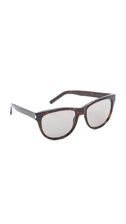 Saint Laurent Classic Preppy Rounded Sunglasses - Dark Havana/Grey Green