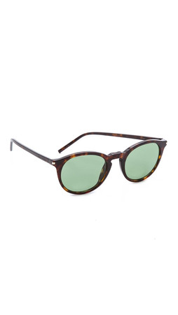 Saint Laurent Round Sunglasses - Dark Havana/Green