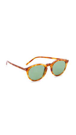 Saint Laurent Round Sunglasses - Havana/Green