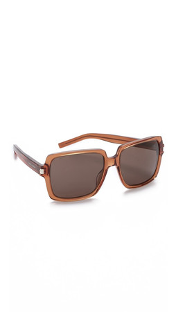 Saint Laurent Square Sunglasses - Light Transparent Brown/Brown