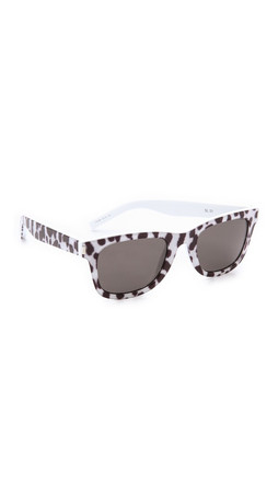 Saint Laurent Tex Sunglasses - Black White Tex/Brown Grey