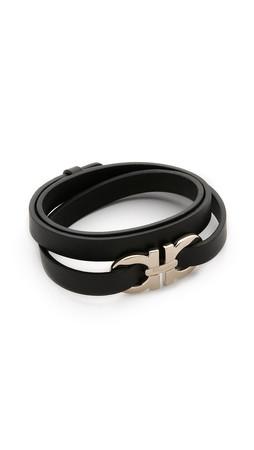 Salvatore Ferragamo Bracciali Gancio Wrap Bracelet - Nero