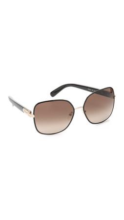 Salvatore Ferragamo Buckle Sunglasses - Black/Brown
