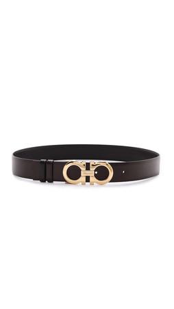 Salvatore Ferragamo Medium Giancini Reversible Belt - Dark Brown/Black