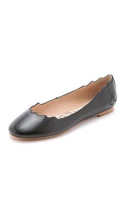 Sam Edelman Augusta Scalloped Ballet Flats - Black
