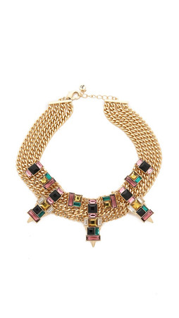 Sam Edelman Chain Stone Necklace - Multi/Gold