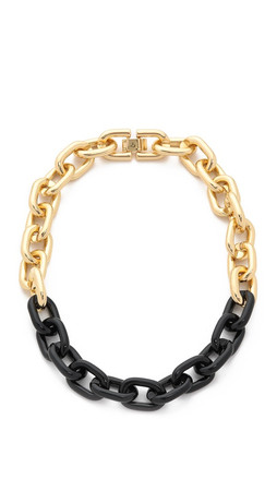 Sam Edelman Colorblock Link Necklace - Black/Gold
