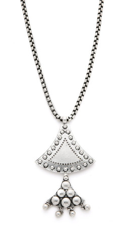 Sam Edelman Flared Double Pendant Necklace - Rhodium