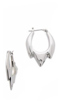 Sam Edelman Jagged Baby Hoop Earrings - Rhodium